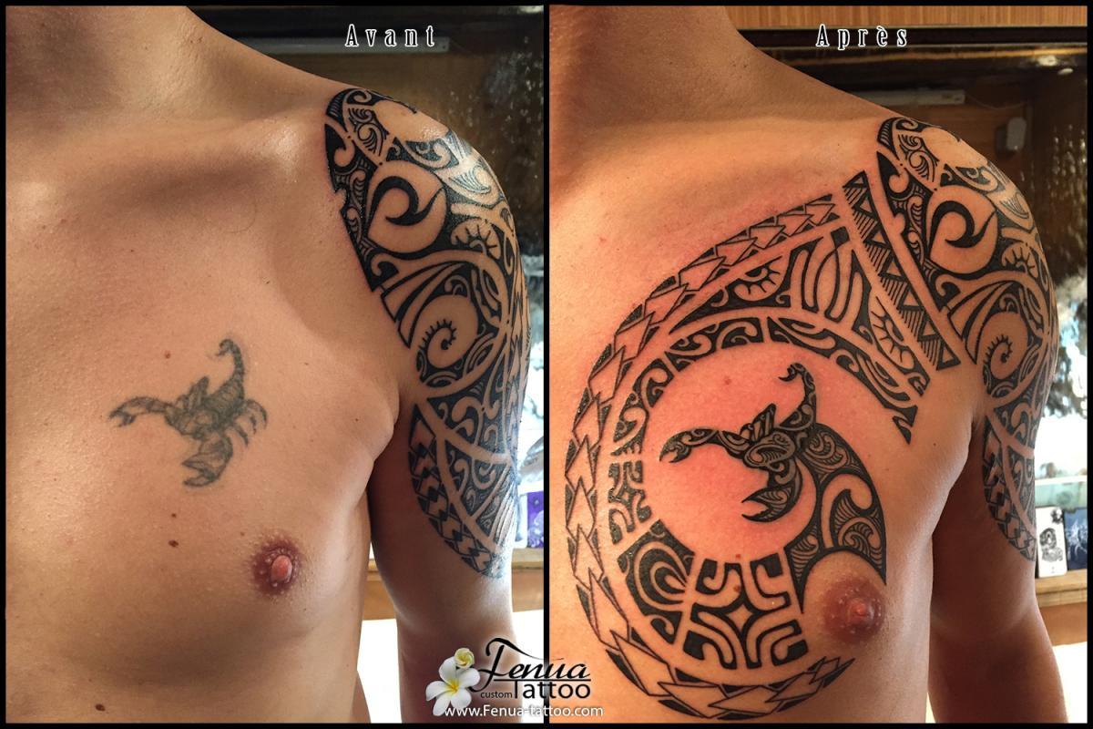Custom De Tatouage Polynesien Sur Bras Epaule Pec Tatouage